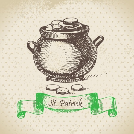 St. Patrick's Day vintage background. Hand drawn illustration  Stock Vector - 18002424