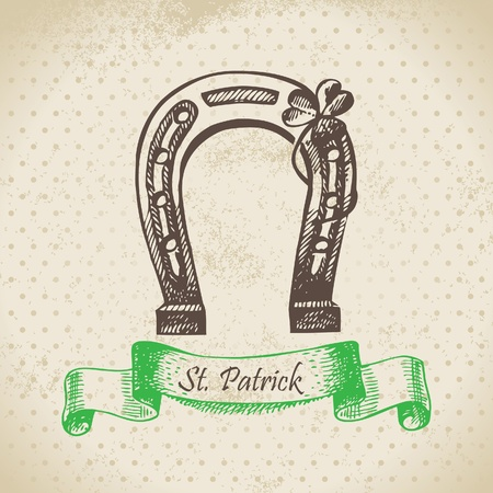 St. Patricks Day vintage background. Hand drawn illustration  Vector