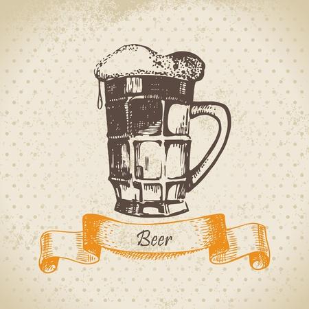 Oktoberfest vintage background with beer. Hand drawn illustration