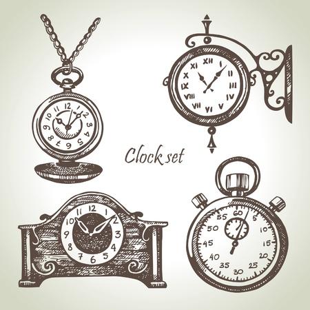 reloj de pendulo: Dibujado a mano set de relojes y relojes de pulsera