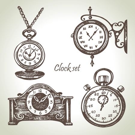 orologi antichi: Mano disegnato insieme di orologi Vettoriali