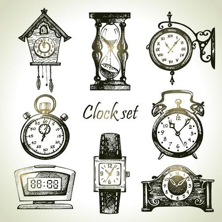 cuckoo clock: Dibujado a mano set de relojes y relojes de pulsera
