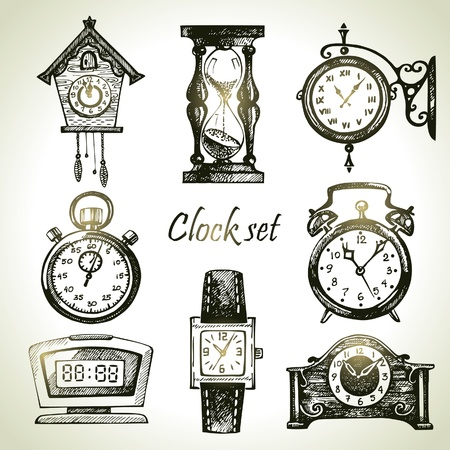 digital clock: Hand drawn set of clocks and watches