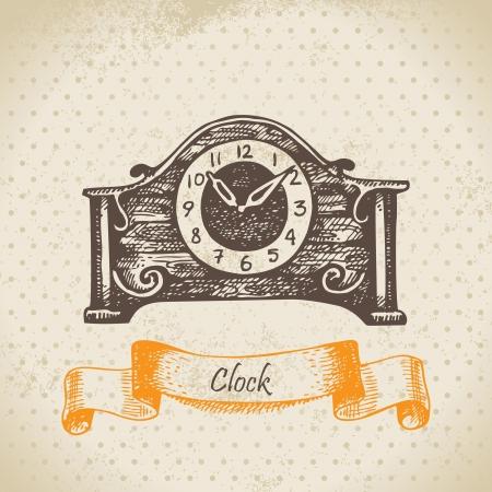 Vintage clock. Hand drawn illustration  Vector