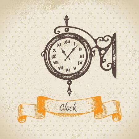 Street clock. Hand drawn illustration  Vector