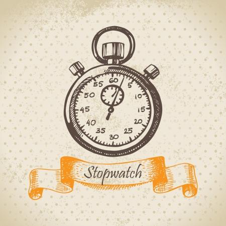 Stopwatch. Hand drawn illustration  Vector