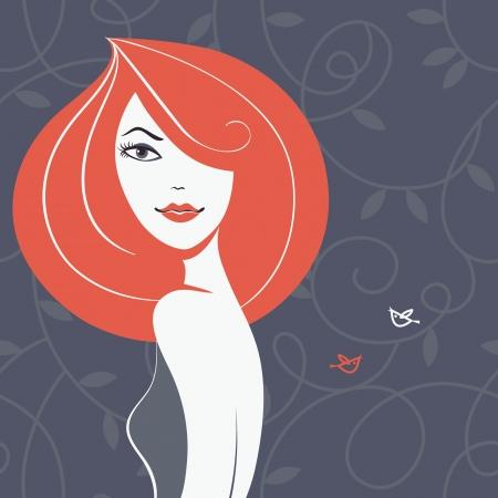 Beautiful girl silhouette Stock Vector - 18002308
