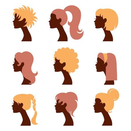 perfil de mujer rostro: Mujeres iconos siluetas establecer Vectores