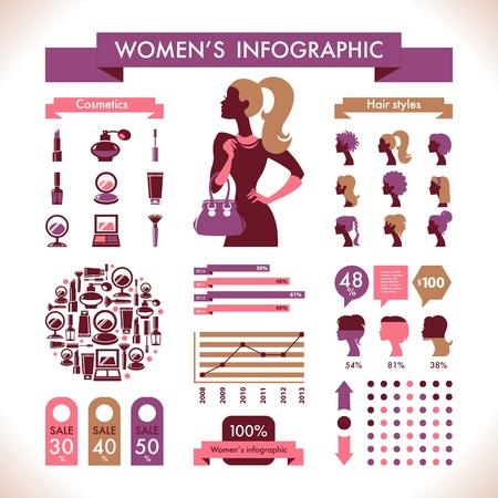 Beautiful Women's Infographic & Symbols Stock Vector - 18002343