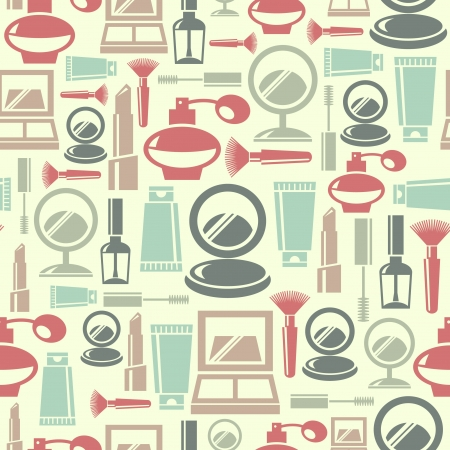 Seamless pattern with cosmetic icons  Vector