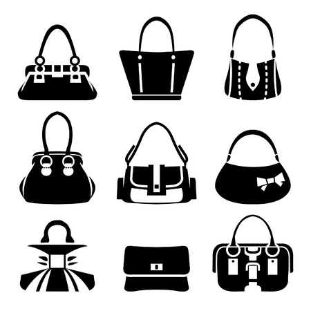 fashion bags: Vector icons of female bags