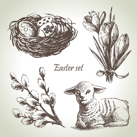 Easter set. Hand drawn illustrations  Vector