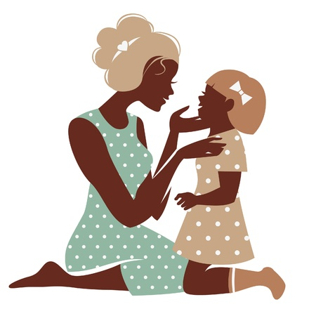 Card of Happy Mothers Day. Beautiful mother silhouette with her daughter Vector