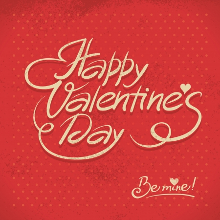 Happy Valentine's Day. Hand lettering in retro style Stock Vector - 18002428