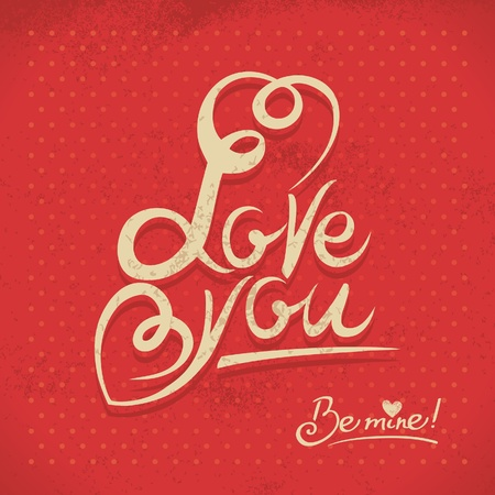 Happy Valentine's Day. Hand lettering in retro style Stock Vector - 18002423