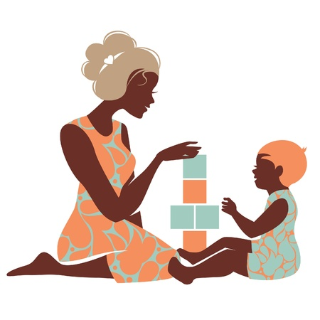 mom daughter: Beautiful silhouette  of mother and baby playing with toys. Happy Mothers Day
