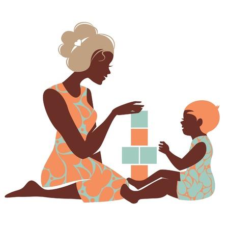 silueta niño: Silueta hermosa de la madre y del bebé que juega con los juguetes. Feliz Día de la Madre