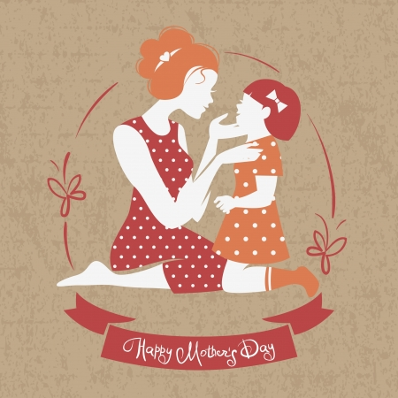 Card of Happy Mother's Day. Beautiful mother silhouette with her daughter Vector