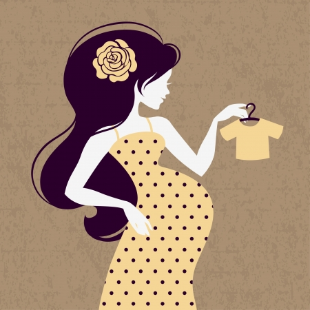 Vintage silhouette of pregnant woman with baby's loose jacket Vector