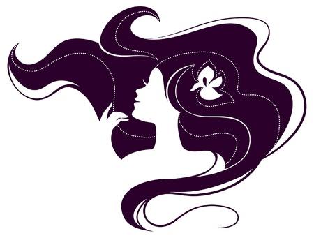 Beautiful girl silhouette Stock Vector - 18002331