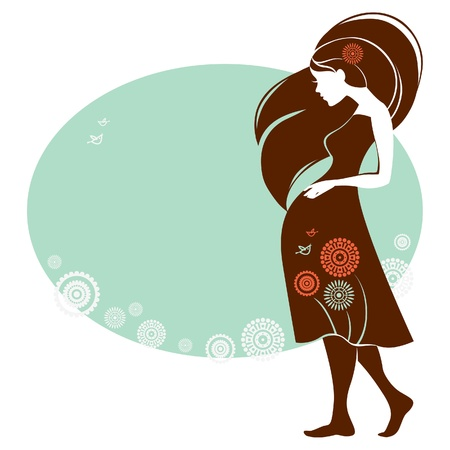 Design of card with silhouette of pregnant woman   Illustration