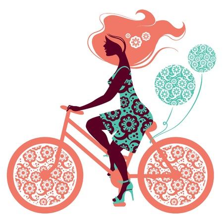 bicicleta retro: Silueta de la hermosa muchacha en bicicleta