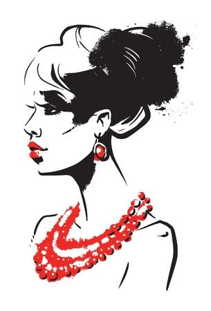 woman face profile: Beautiful woman Illustration