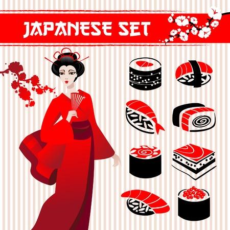 sushi set: Japanese set: traditional food sushi, geisha and branch of sakura