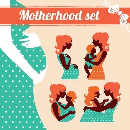 Motherhood set. Silhouettes of mother and baby Vector