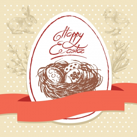 Vintage Easter background, hand drawn illustration. Easter greeting card Vector