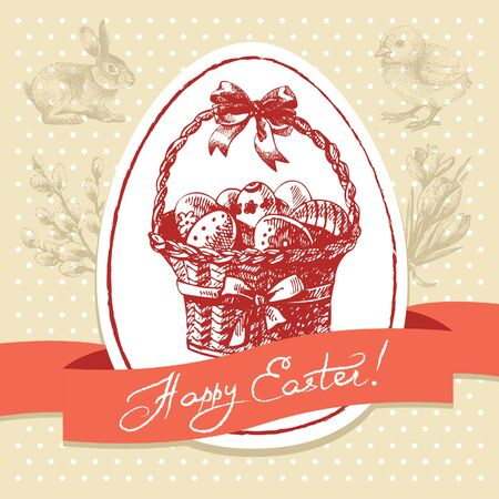 Vintage Easter background, hand drawn illustration. Easter greeting card Stock Vector - 18435934