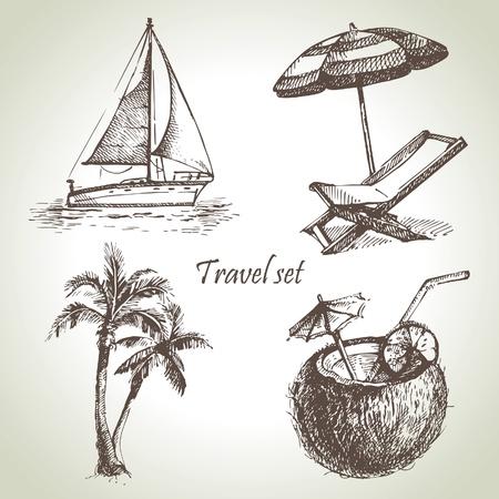fruit drink: Set viaggio. Illustrazioni disegnate a mano Vettoriali