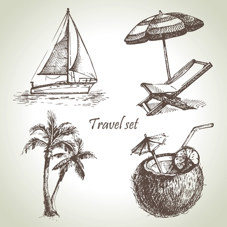tropical drink: Travel set. Dibujado a mano ilustraciones