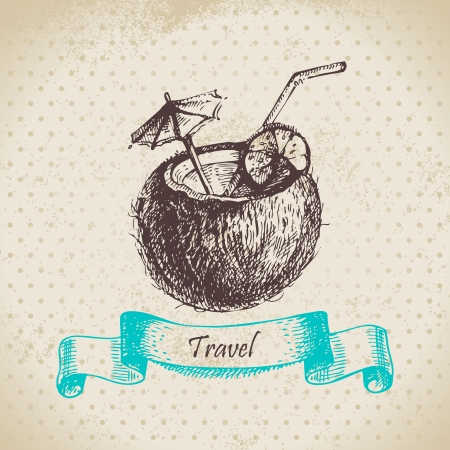 coconut drink: Vintage background with tropic coconut cocktail. Hand drawn illustration