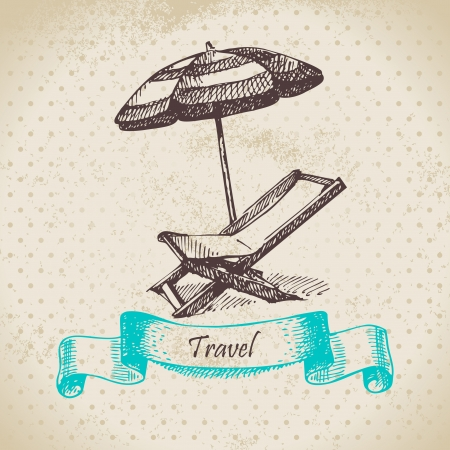 strandstoel: Vintage achtergrond met strand stoel en een paraplu. Hand getrokken illustratie
