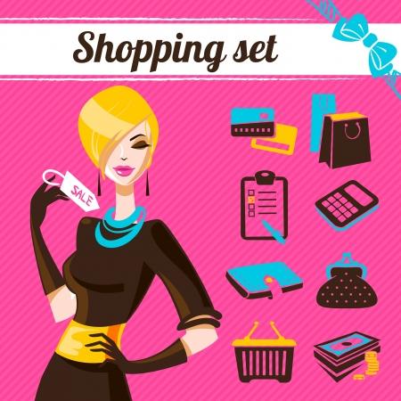 infogaphics: Shopping set, infographics of fashion women Illustration
