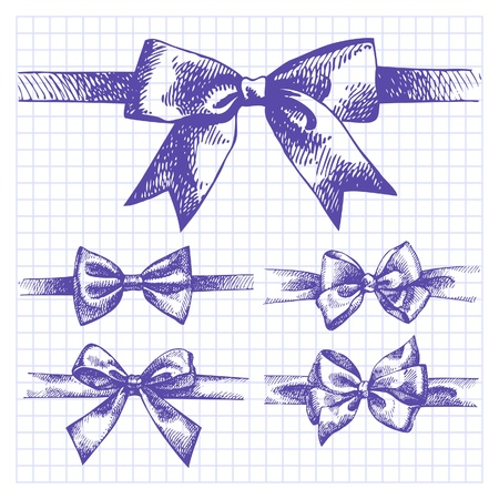 Set of bow. Hand drawn illustrations of ribbons Stock Vector - 18435957