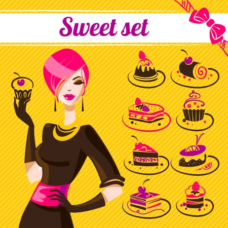 Sweet set, cakes icons   Vector