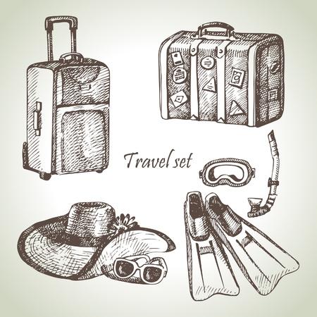 suitcase: Travel set. Hand drawn illustrations
