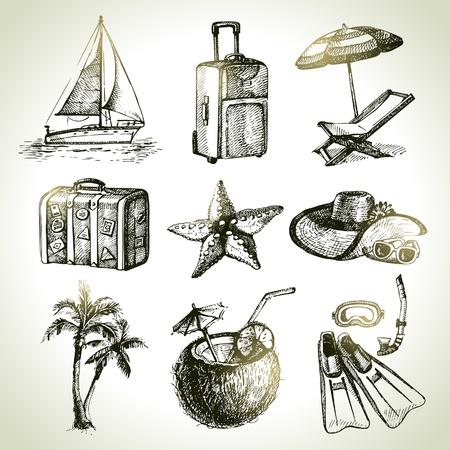 sonnenschirm: Reise-Set. Hand gezeichnete Illustrationen