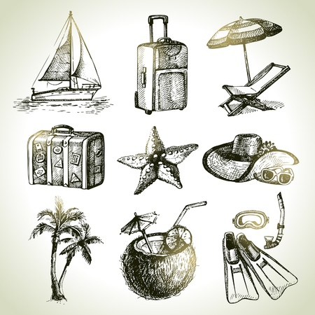 beach umbrella: Travel set. Hand drawn illustrations