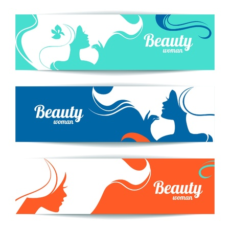 hair style collection: Banners with stylish beautiful woman silhouette. Template design cards