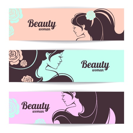 beauty salon face: Banners with stylish beautiful woman silhouette in pastel colors
