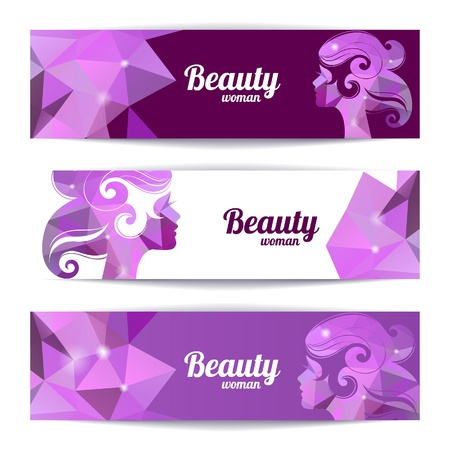 beauty salon face: Banners with woman silhouette and triangle pattern. Template design cards  Illustration