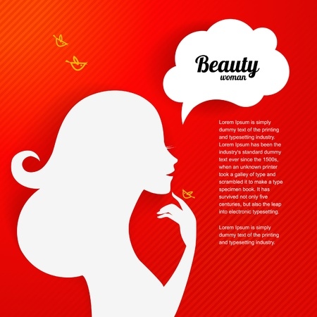 Applique background with beautiful girl silhouette for your design.  Vector