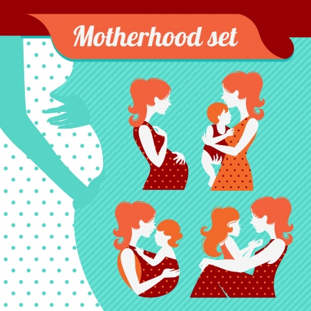 Motherhood set. Silhouettes of mother and baby Stock Vector - 18435984