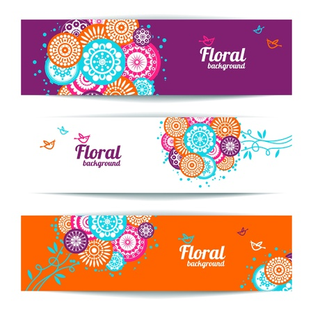 Banners of abstract floral background  Stock Vector - 18435985