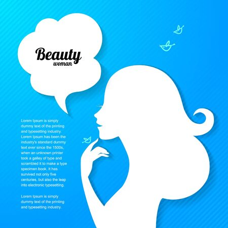 Applique background with beautiful girl silhouette for your design Vector
