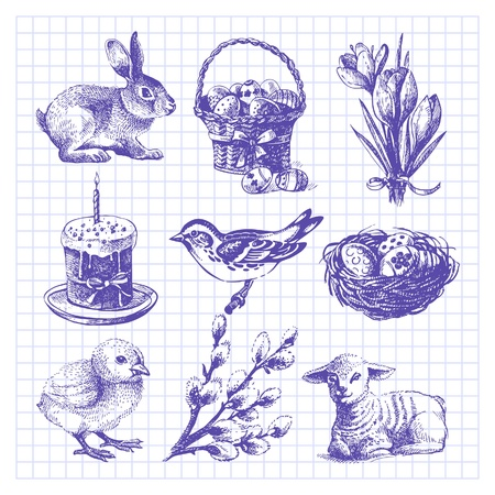 Easter set. Hand drawn illustrations Stock Vector - 18435991