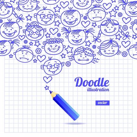 sketchbook: Doodle kid cartoon design Illustration